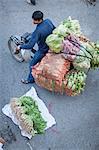 Street market man on motorbike, Hanoi, Vietnam, Indochina, Southeast Asia, Asia