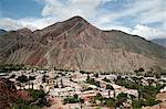 View over Purmamarca from the Camino de los Colorados trail, Quebrada de Humahuaca, UNESCO  World Heritage Site, Jujuy Province, Argentina, South America