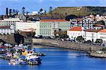 Fishing boats in harbour, Ponta Delgada City, Sao Miguel Island, Azores, Portugal, Atlantic, Europe