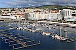 Yacht Marina in Ponta Delgada Port, Sao Miguel Island, Azores, Portugal, Atlantic, Europe