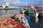 Fishing boats in harbour, Ponta Delgada Port, Sao Miguel Island, Azores, Portugal, Atlantic, Europe