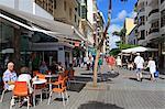 Cafe on Calle Leon Castillo, Arrecife, Lanzarote Island, Canary Islands, Spain, Europe