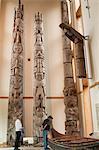 Totem poles at Haida Heritage Centre Museum at Kaay Llnagaay, Haida Gwaii (Queen Charlotte Islands), British Columbia, Canada, North America
