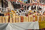 Cheese vendor in local market, Cuzco, Peru, South America
