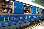 Hiram Bingham train at the Ollanta Train station in Ollantaytambo, Sacred Valley, Peru. South America