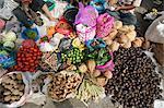 Batak tribal market stall selling local produce in Tomuk, Samosir Island in Lake Toba, Sumatra, Indonesia, Southeast Asia, Asia