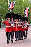 Irish Guards marching along The Mall, London, England, United Kingdom, Europe
