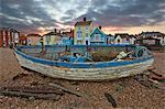 Old fishing boat on beach, Aldeburgh, Suffolk, England, United Kingdom, Europe