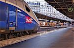 A TGV awaits departure at Gare de l'Est in Paris, France, Europe