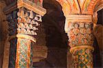 Painted bas relief in Eglise Sainte Radegonde, Poitiers, Vienne, Poitou-Charentes, France, Europe
