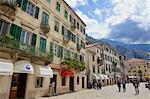 Street in historic old town of Kotor, Bay of Kotor, UNESCO World Heritage Site, Montenegro, Europe