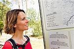 Woman looking at map, Groznjan, Istria, Croatia