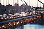 Moving traffic on George Washington Bridge, New York City, USA