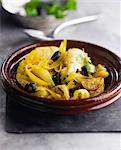 Chicken,citrus lemon,black olive and saffron Tajine