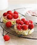 Crunchy raspberry cream and fresh raspberry dessert