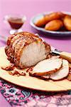 Roast pork with confit onions