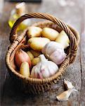 Basket of garlic,shallots and potatoes