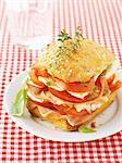 Tomato,mozzarella and raw ham sandwich