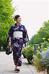 Japanese woman in a Yukata walking