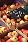 Leuven, Belgium. Locally grown apples on sale at Leuven market.