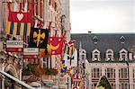 Leuven, Belgium. Detail of shop fronts in Leuven's historic town centre.