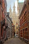 Leuven, Belgium. View towards town hall in Leuven's historic town centre.
