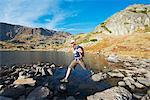 Europe, Bulgaria, Sedemte Rilski Ezera,  hiker in Seven Lakes hiking area (MR)