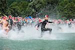 Europe, France, French Alps, Haute-Savoie, Passy, Passy Triathlon, swimmers at start line