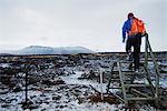 Europe, Iceland, Myvatn, hiker, Hverfell Volcano (MR)