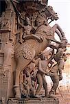 India, Tamil Nadu, Tiruchirappalli, Trichy, Srirangan, Sri Ranganathasvami Temple.  Horse columns.