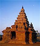 Asia, India, Tamil Nadu, Mahabalipuram (Mamallapuram).  The Shore Temple in the early morning light.