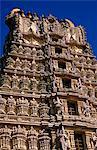 Asia, India, Southern Karnataka, Mysore, Chamundi Hill, Sri Chamundeswari Temple.     Close up of the seven storey 40 metre high gopuram