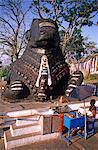 Asia, India, Southern Karnataka, Mysore, Chamundi Hill, Sri Chamundeswari Temple.   Famous five metre high Nandi (Shiva's bull vehicle), carved out of solid rock in 1659.