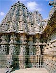 Asia, India, Southern Karnataka, Somnathpur, Kesava Temple, near Mysore.   Detail of the carvings on the exterior of the temple.