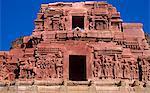 Asia, India, Karnataka, Hampi.  Detail of east gopuram of Krishna temple.