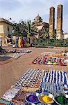 India, Madhya Pradesh, Orchha, view of bazaar with Sawar Bhado pillars in the background.