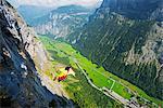 Europe, Swiss Alps, Switzerland, Bernese Oberland, Swiss Alps Jungfrau-Aletsch, Unesco World Heritage site, base jumping above Lauterbrunnen valley