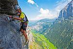 Europe, Swiss Alps, Switzerland, Bernese Oberland, Swiss Alps Jungfrau-Aletsch, Unesco World Heritage site, Murren, via ferrata (MR)