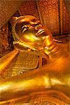 Thailand, Bangkok. The Reclining Buddha at Wat Pho.