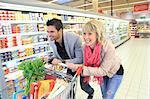France, supermarket, happy customers.