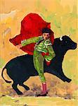 Matador doing pass with bull at bullfight