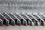 Shopping trolleys in a row