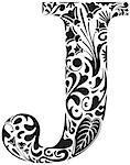 Floral initial capital letter J
