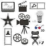 Set of black movie icons on white background