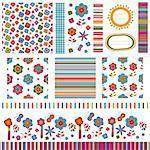 summer backgrounds, flower patterns set