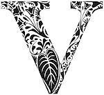 Floral initial capital letter V