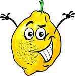 Cartoon Illustration of Funny Lemon Citrus Fruit Food Comic Character