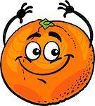 Cartoon Illustration of Funny Orange Citrus Fruit Food Comic Character