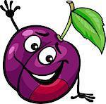 Cartoon Illustration of Funny Plum Fruit Food Comic Character