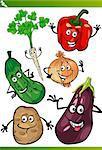 Cartoon Illustration of Funny Vegetables Food Characters Set